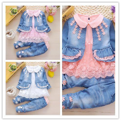 Baby Girls Jean Jackets Kids Lace Coat Long Sleeve