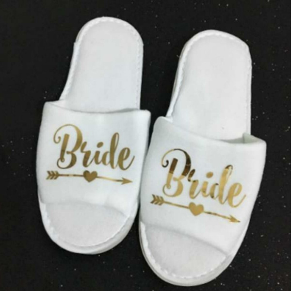 high quality later quality products Hen Party Bridal Shower Sleepwear Nightwear Slipper Bridesmaid Maid of  Honor Bride Disposable Spa Slippers
