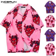 Fashion, print shirt, short sleeves, Harajuku