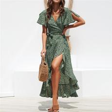 Summer, ruffle, chiffon, long dress