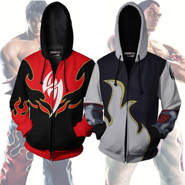New 3d Print Zip Up Hoodies Hot Game Tekken Jin Kazama Red White
