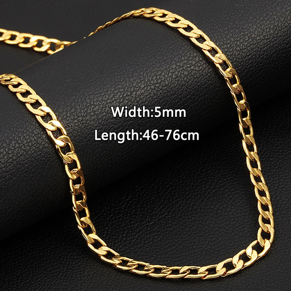European Luxury Classic Mens Chains Necklace 5mm Width 18k Gold Chains For Men Wish