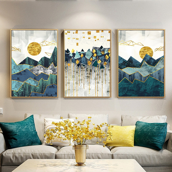 Nordic Abstract Wall Art Geometric Mountain Landscape Canvas Painting Golden Sun Poster Print Picture For Living Room