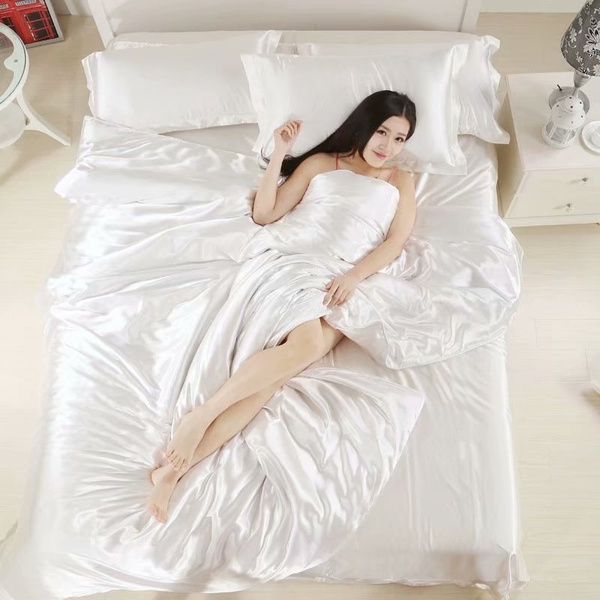 Silk Quilt White Satin Sheets Bed Linen