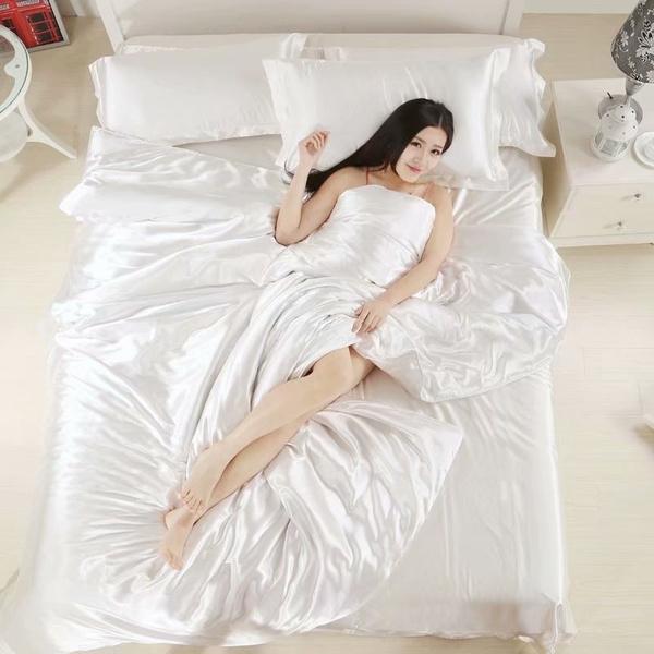 Silk Quilt White Satin Sheets Bed Linen