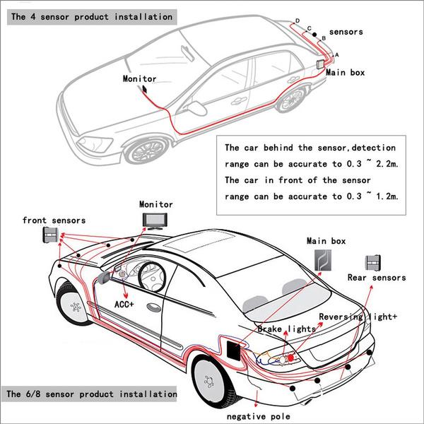 Car Parking Sensor Kit 8 Sensors 22mm Lcd Display Reverse Backup Radar Monitor System 12v 6 Colors