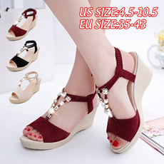 Summer, Sandals, wedge, korean style