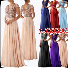 Deep V-Neck, Plus Size, Long Sleeve Dresses, chiffon