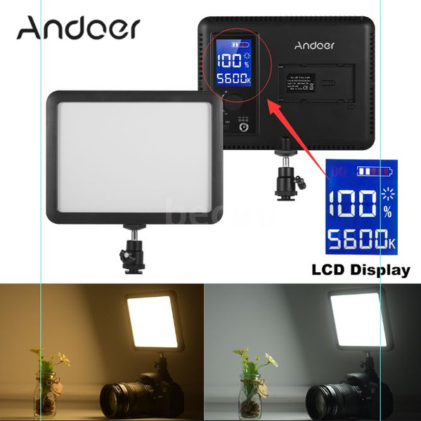 Andoer Wy 160c Led Video Light Panel Photography Fill In Lamp 3300k 5600k Adjustable Color Temperature Dimmable With Lcd Display For Canon Nikon Sony