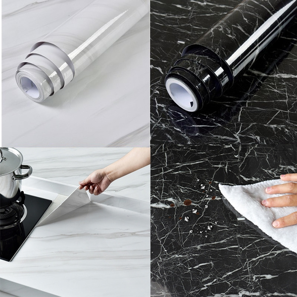 40cmx1m Black White Marble Sticker Granite Wallpaper Self Adhesive