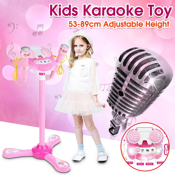 Kids Karaoke Machine Set With 2 Microphones Adjustable Stand KTV Music Play  Funny Toys Gifts