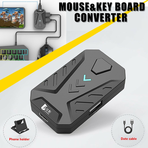 4 8-5 2V Mobile Gaming Keyboard Mouse Adapter Converter For Android iPhone  +Free Holder for PUBG Mobile Games, AoV,Mobile Legends, RoS, Knives Out,