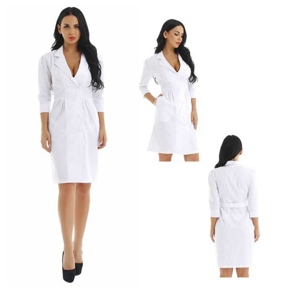 Women's White Coat Tuck Waist Scrub Dress Lab Medical Nurse Doctor ...