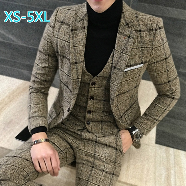 New Large Size British Gentleman Plaid Wool Suit Suit Groom Groomsmen Three Pieces by Wish