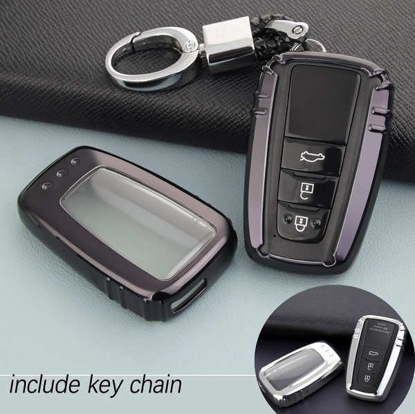 Full Protection Key Shell TPU Cover for 2018 2019 Toyota Camry Corolla Avalon Prius C-HR RAV4 3 4 Buttons Keyless Entry Cover Soft Holder Case with Keychain Silver