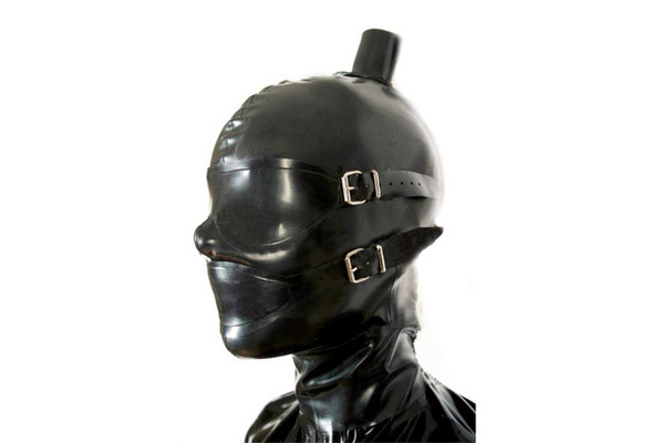 Full Cover Latex Hood with Removable Eyes and Mouth Masks Rubber Mask Club Wear