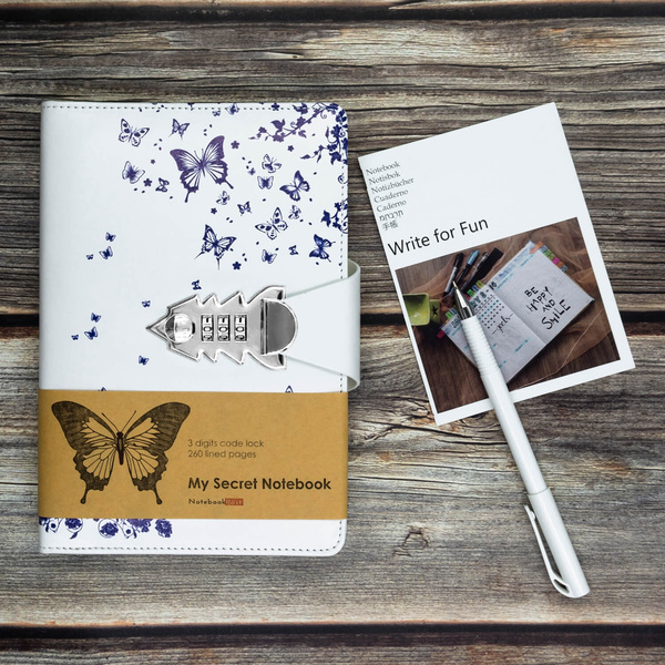 Womens Leather Diary Journal with Code Lock A5, White Color Butterfly  Pritned Cover