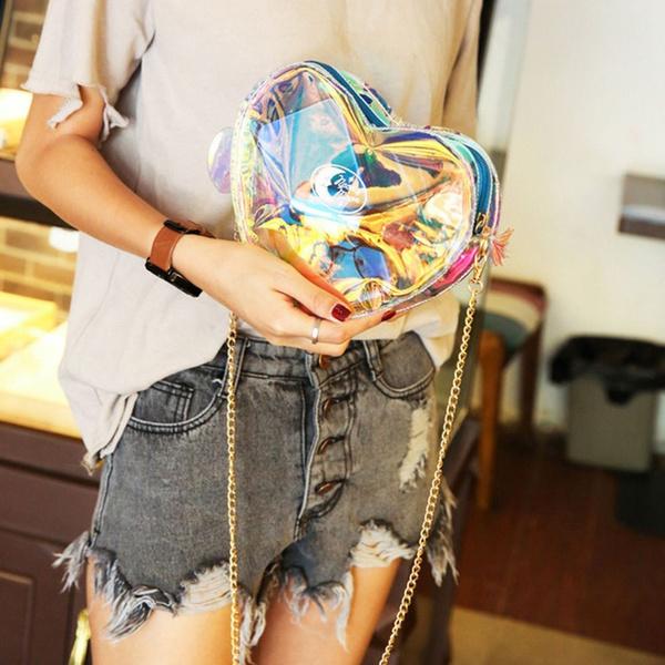 women bags, ショルダーバッグ, heartshapebag, pvcshoulderbag