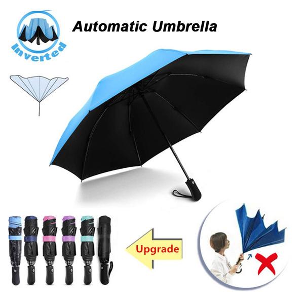 9e7ebad64dea 1pc Reverse Automatic Three Folding Umbrella Portable Travel Compact  Folding UV Protection Sunny Rain Umbrellas with 8 Powerful Ribs Inverted ...