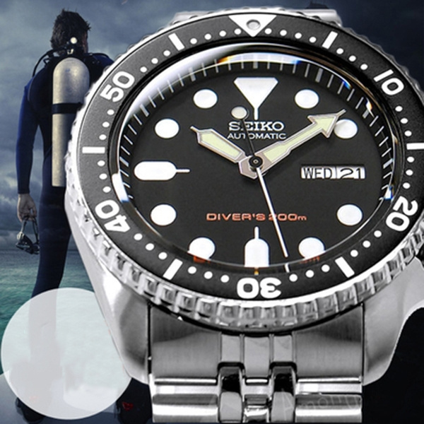 Seiko Skx007 Clone Men S Water Ghost Mechanical Watch Professional Diving Automatic Mechanical Watch Silver Strap Black Blue Bezel