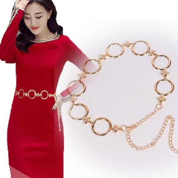 Metal Waist Chain Belt Women Circle Metal String Belt Ladies Dresses Decoration