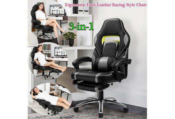 Magnificent Langria New 3 In 1 Gaming Chair Racing Style Faux Leather High Back Chair With Footrest Headrest And Lumbar Cushion Ergonomic Adaptive Design Machost Co Dining Chair Design Ideas Machostcouk