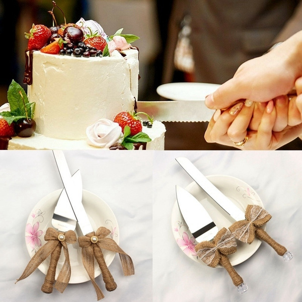 Rustic Crystal Handle Stainless Steel Wedding Cake Knife Set Burlap Bowknot Cake Cutter Knife Serve Wedding Party Accessories Wish