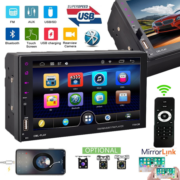 7inch 2 Din HD 1080P Bluetooth Touch Screen Car Stereo Radio FM AUX USB SD  MP3 MP5 Player + Remote Controller + Power Cable