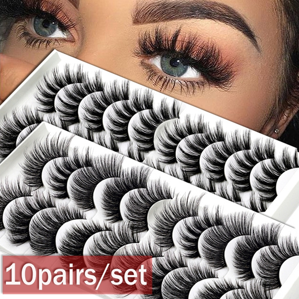 8styles 10 Pairs Multipack Natural False Eyelashes Soft Cross Mink Lashes Multilayer Fake Mink Eyelashes Women Makeup Tools by Wish
