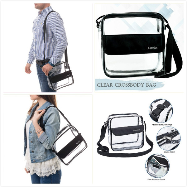 6e1e6b061c11 Clear Crossbody Shoulder Messenger Bag | NFL Stadium Approved Transparent  Tote Purse - Water Resistant with Adjustable Strap