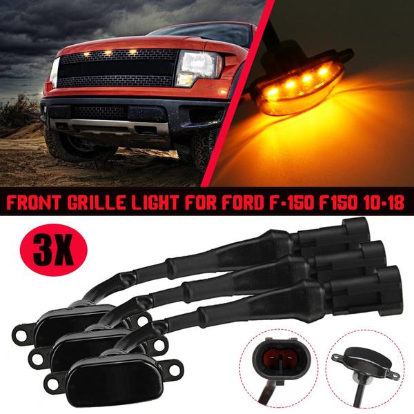 3PCS New Amber LED Light For 2013-2014 Ford F150 Raptor Style Grille Light Kit