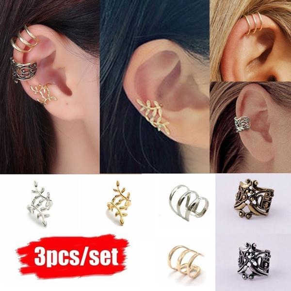 piercedearring, goldplated, Jewelry, gold