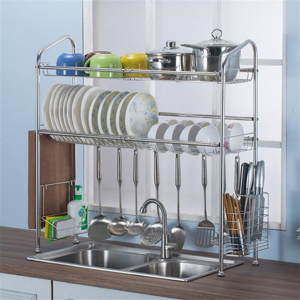 2 Tier Stainless Steel Dish Rack Over Sink Bowl Shelf Organizer