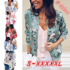 Casual Jackets, Fashion, Floral print, zipperjacket