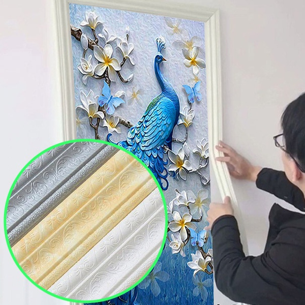 3d Pattern Self Adhesive Decorative Wall Molding Lines Background Lines Tv Setting Wall Decoration Lines Mural Border Line Smart Home Items Wall Paper