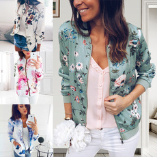 casual coat, Pocket, Plus Size, floraljacket