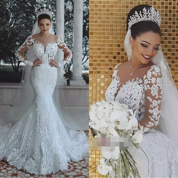 Vestido De Noiva Sexy Long Sleeves Lace Wedding Dress 2019 New See Through Back Lace Mermaid Robe De Mariee Custom Bride Dress