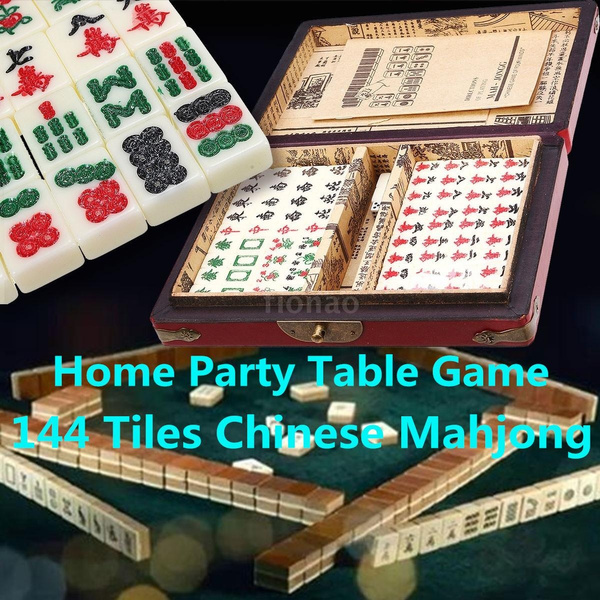 144 Tiles Portable Chinese MahJong Rare Game Set Adult Family Board Game A