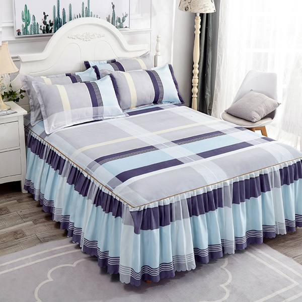 Simple Stripe Bed Skirt With 18 Inch Drop Full Queen King Ca 4 Size Dust Ruffle 3 Sided Of Pillow Shams Optional