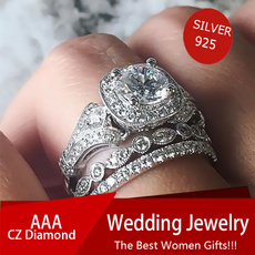 Silver Jewelry, DIAMOND, wedding ring, 925 silver rings