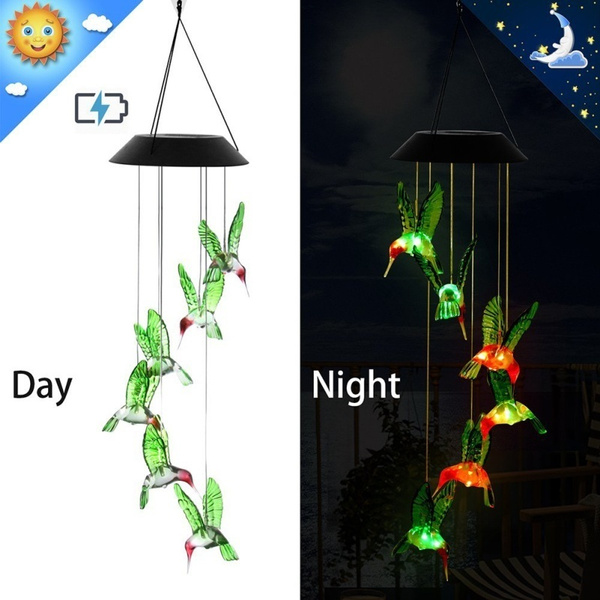 Solar LED hummingbird Wind Chimes Light Color Changing Outdoor Garden Decor Lamp