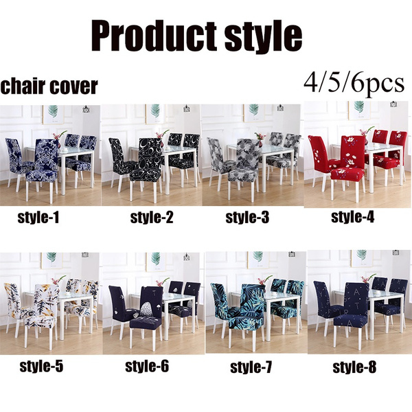 Wish | 4/5/6PCS   Elastic Restaurant Chair Cover Solid Color Home Living Dining Chair Set Spandex Elastic Restaurant Chair Cover Slipcover