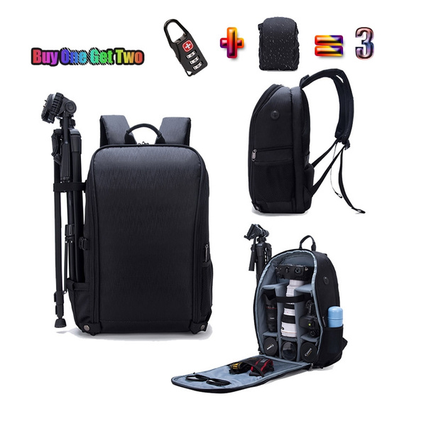Waterproof Digital DSLR Camera Backpack w// Rain Cover Laptop 15.6inch Soft Bag