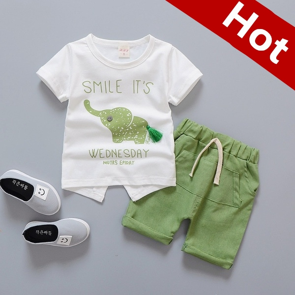 22aef95521289 2pcs Set Children Summer Fashion Small Animal Print Little Kids Boys ...