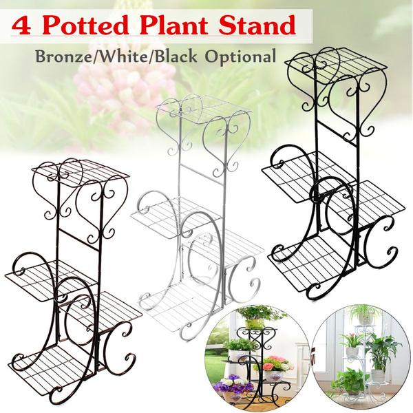 Bronze 2 Tiers Metal Planter Flower Pot Stand Display Shelf Outdoor Indoor Decor