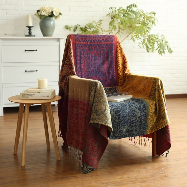 Astonishing Bohemian Sofa Chenille Blanket Throws Plaid Sofas Towel Tibet Indian Couch Slipcover Wall Tapestry Home Decorative Gamerscity Chair Design For Home Gamerscityorg