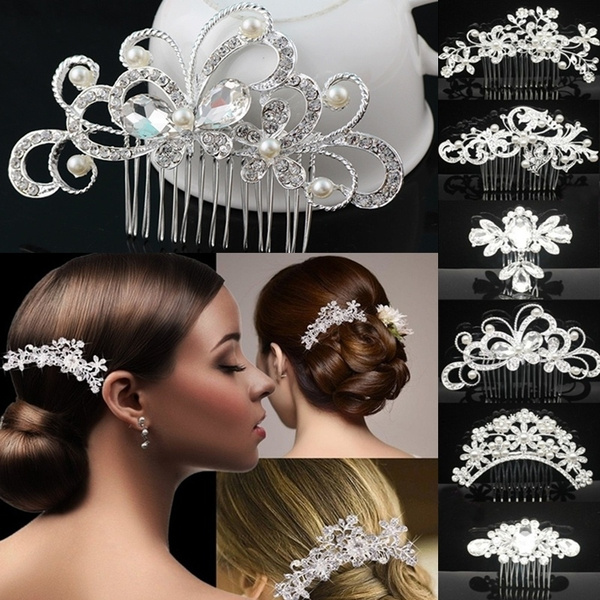 Womens Wedding Bridal Hair Accessories Comb Clips Crystal Pearls Diamante Pearls