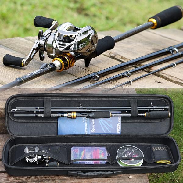Sougayilang Fishing Rod Reel Combo Carbon Fiber 4 Piece Casting