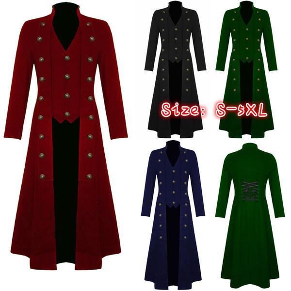 Men Uniform Victorian Frock Coat Gothic Steampunk Costume Long Vintage Tailcoat