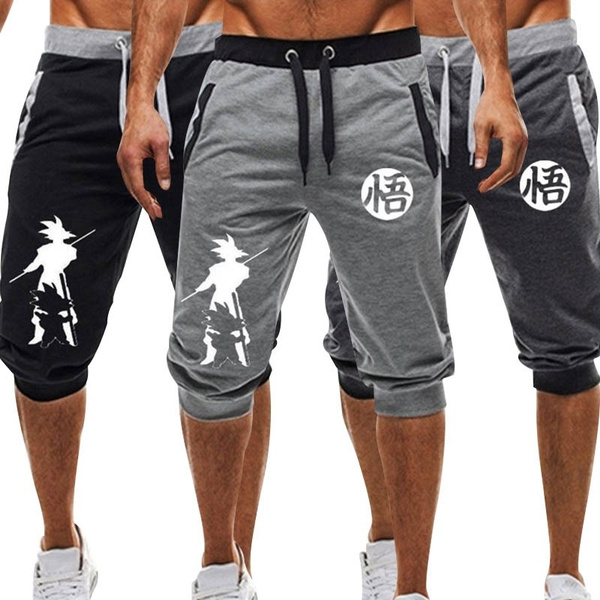 New Summer Men Dragon Ball Shorts Casual Drawstring Goku Print Sweatpants Fitness Jogger Short Pants